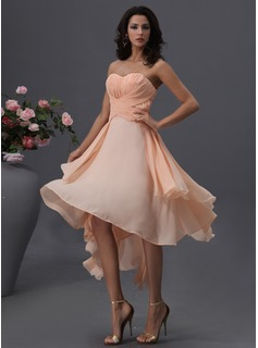 A-Line/Princess Sweetheart Asymmetrical Chiffon Bridesmaid Dress With Ruffle (007022746)