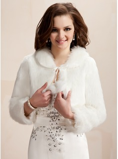 Feather/Fur Wedding Wool Wraps With Long Sleeve (013020422)