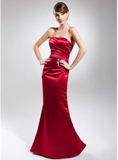 Mermaid Strapless Floor-Length Satin Evening Dress With Ruffle Beading (017014683)