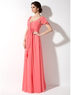 Empire Sweetheart Floor-Length Chiffon Maternity Bridesmaid Dress With Ruffle (045022461)