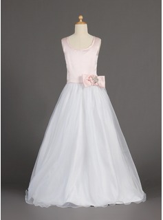 A-Line/Princess Scoop Neck Floor-Length Satin Organza Flower Girl Dress With Beading Flower(s) Bow(s)