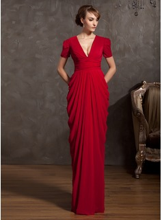 Sheath V-neck Floor-Length Chiffon Mother of the Bride Dress With Ruffle (008014885)