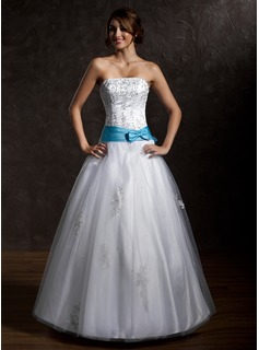 Ball-Gown Strapless Floor-Length Satin Tulle Quinceanera Dress With Lace Sash Beading