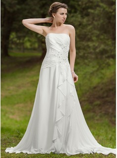 A-Line/Princess Sweetheart Chapel Train Chiffon Wedding Dress With Ruffle Lace Beadwork (002012058)