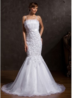 Mermaid Scalloped Neck Chapel Train Organza Satin Wedding Dress With Lace Sashes Sequins (002015171)