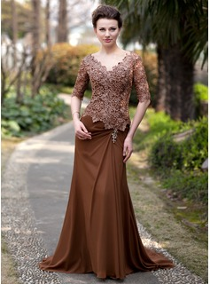 A-Line/Princess V-neck Sweep Train Chiffon Lace Mother of the Bride Dress With Ruffle Beading (008018727)
