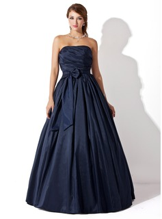 Ball-Gown Strapless Floor-Length Taffeta Prom Dress With Ruffle (018005046)