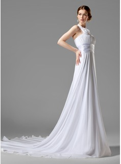 Empire One-Shoulder Chapel Train Chiffon Charmeuse Wedding Dress With Ruffle Flower(s) (002000447)