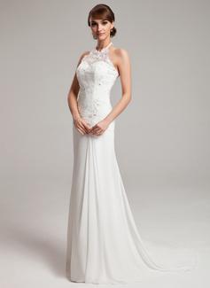 A-Line/Princess Halter Sweep Train Chiffon Tulle Wedding Dress With Ruffle Lace Beading