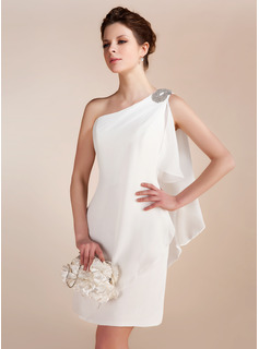 Sheath/Column One-Shoulder Knee-Length Chiffon Wedding Dress With Ruffle Beadwork (002011748)