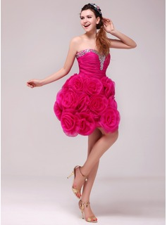 A-Line/Princess Sweetheart Knee-Length Organza Cocktail Dress With Ruffle Beading Flower(s) (016014037)
