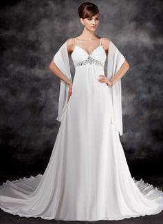 Corte imperial Escote en V Cola capilla Chifón Vestido de novia con Volantes Bordado Lentejuelas