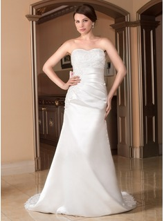A-Line/Princess Sweetheart Court Train Satin Wedding Dress With Ruffle Lace Sash Beading Bow(s)