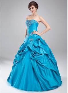 Ball-Gown Sweetheart Floor-Length Taffeta Tulle Quinceanera Dress With Embroidered Ruffle Beading (021002883)