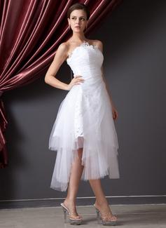 Corte A/Princesa Estrapless Asimétrico Tul Vestido de novia con Volantes Encaje