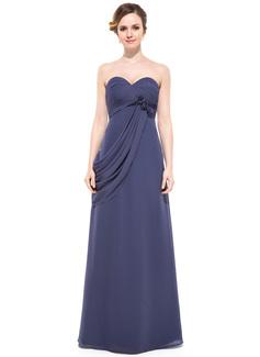 Empire Sweetheart Floor-Length Chiffon Evening Dress With Ruffle Beading Flower(s)