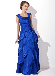 Vestidos princesa/ Formato A Decote V Longos Charmeuse Vestido para a mãe da noiva com Babados em cascata