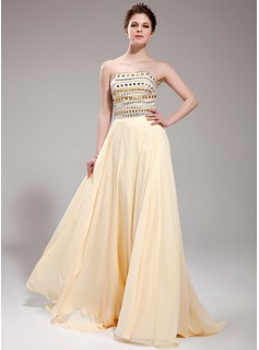 A-Line/Princess Strapless Sweep Train Chiffon Prom Dress With Beading