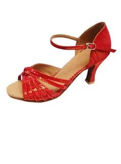 De mujer Cuero Tacones Sandalias Danza latina Sala de Baile con Hebilla Zapatos de danza