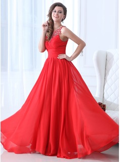 A-Line/Princess Scoop Neck Floor-Length Chiffon Holiday Dress With Ruffle Beading (020017361)
