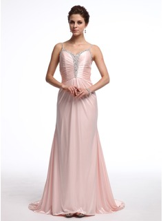 Sheath Sweetheart Sweep Train Charmeuse Evening Dress With Ruffle Beading (017026233)