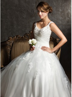 Ball-Gown V-neck Sweep Train Satin Tulle Wedding Dress With Ruffle Lace Beadwork Sequins