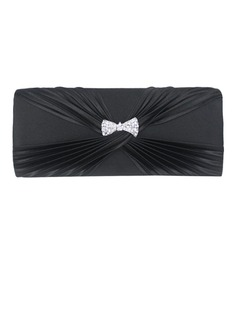 Black Gorgeous Satin With Austrian Rhinestone Evening Clutches More Colors Available (012008203)