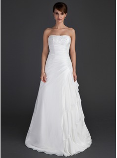 A-Line/Princess Strapless Floor-Length Chiffon Taffeta Wedding Dress With Ruffle Beadwork