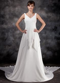 Corte A/Princesa Escote en V Cola watteau Chifón Vestido de novia con Volantes