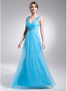 A-Line/Princess V-neck Floor-Length Satin Tulle Prom Dress With Ruffle Beading
