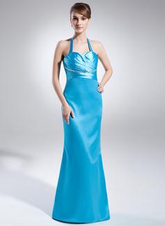 Sheath/Column Halter Sweep Train Charmeuse Evening Dress With Ruffle Beading