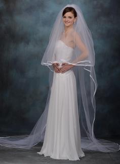 Duas camada Catedral véus de noivas com Borda com tira
