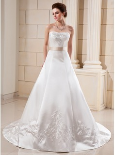 A-Line/Princess Sweetheart Cathedral Train Satin Wedding Dress With Embroidery Sash Beading Bow(s)