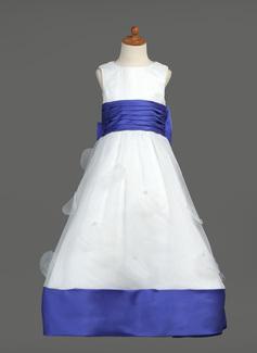 Empire Scoop Neck Floor-Length Organza Satin Flower Girl Dress With Sash Bow(s)