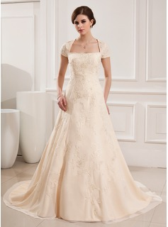 A-Line/Princess Square Neckline Court Train Chiffon Wedding Dress With Embroidery Beadwork (002019535)