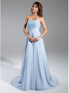 A-Line/Princess Strapless Chapel Train Chiffon Evening Dress With Ruffle Lace Beading