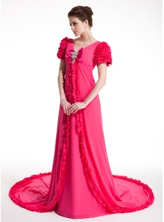 A-Line/Princess V-neck Court Train Chiffon Prom Dress With Ruffle Beading (018018953)