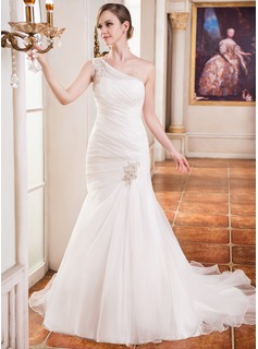 Trumpet/Mermaid One-Shoulder Chapel Train Organza Wedding Dress With Ruffle Beading Appliques Lace