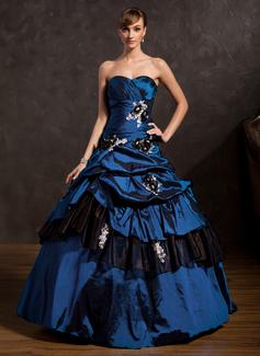 Corte de baile Escote corazón Hasta el suelo Tafetán Vestido de quinceañera con Volantes Bordado Los appliques Encaje Flores Lentejuelas