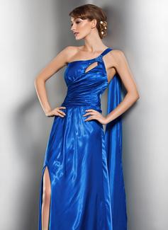 Corte A/Princesa Un sólo hombro Hasta el suelo Charmeuse Vestido de noche con Volantes Bordado Apertura frontal