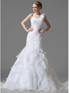 Trumpet/Mermaid One-Shoulder Chapel Train Organza Satin Wedding Dress With Beading Flower(s) Cascading Ruffles