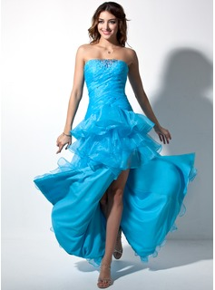 Ball-Gown Sweetheart Floor-Length Organza Prom Dress With Ruffle Beading Split Front Cascading Ruffles