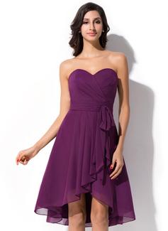 A-Line/Princess Sweetheart Asymmetrical Chiffon Bridesmaid Dress With Bow(s) Cascading Ruffles