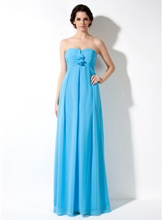 Empire Sweetheart Floor-Length Chiffon Maternity Bridesmaid Dresses With Ruffle (045022462)