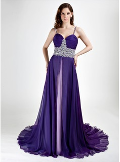 A-linje Sweetheart Court-slb Chiffon Aftenkjoler med Perlebesat (017015769)