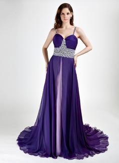 A-Line/Princess Sweetheart Court Train Chiffon Evening Dress With Beading