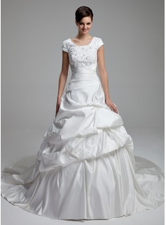 Ball-Gown Scoop Neck Cathedral Train Satin Wedding Dress With Lace Beadwork Sequins (002012761)