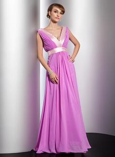 A-Line/Princess V-neck Floor-Length Chiffon Charmeuse Evening Dress With Ruffle Sash
