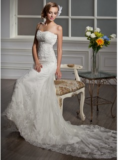 Mermaid Sweetheart Court Train Satin Tulle Wedding Dress With Lace Beadwork (002000641)
