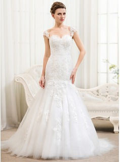 Trumpet/Mermaid Sweetheart Court Train Satin Tulle Wedding Dress With Appliques Lace